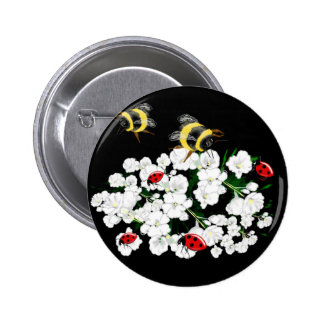 Dramatic Bees ladybugs and white flowers on black 2 Inch Round Button