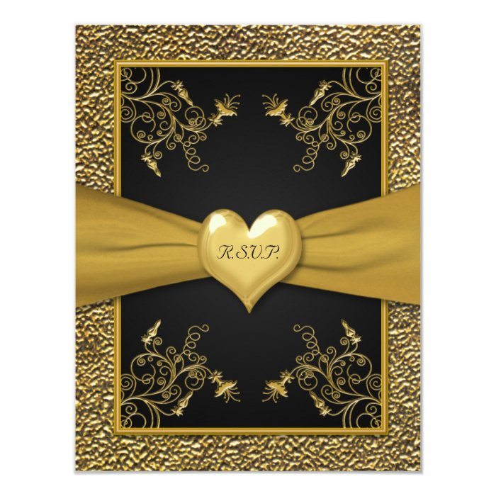 Dramatic Black and Gold Heart RSVP Card