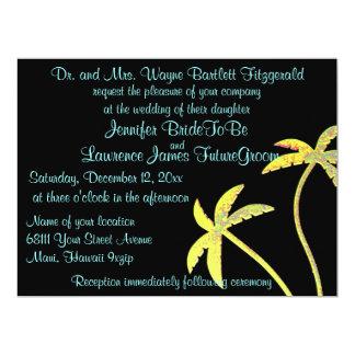 Dramatic Black and Gold Palm Tree Wedding 6.5x8.75 Paper Invitation Card