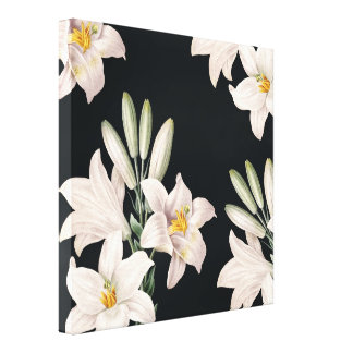 Dramatic Black and White Lilies Canvas Print