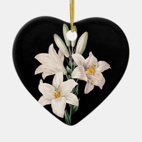 Dramatic Black and White Lilies Ceramic Ornament