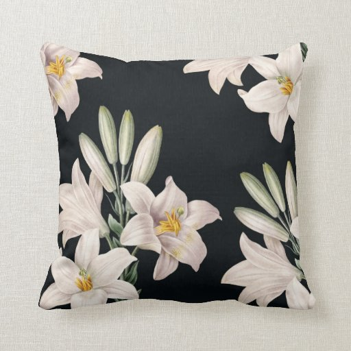 Dramatic Black and White Lilies Pillows