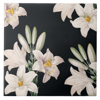 Dramatic Black and White Lilies Ceramic Tile