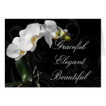 Dramatic Black and White Orchid Flower Mothers Day Stationery Note Card