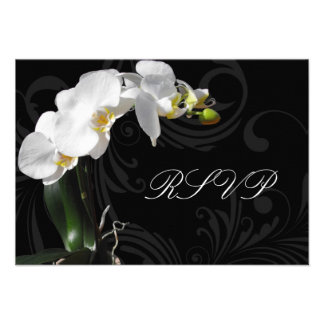 Dramatic Black and White Orchid Matching RSVP Custom Invites