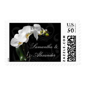 Dramatic Black and White Orchid Wedding Stamps