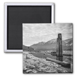 Dramatic Black and White Winter Low River Photo 2 Inch Square Magnet