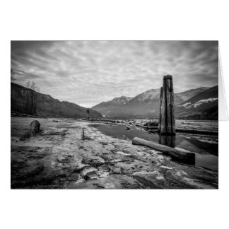 Dramatic Black and White Winter Low River Photo Cards