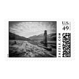 Dramatic Black and White Winter Low River Photo Stamp