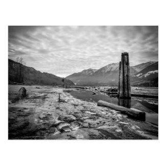 Dramatic Black and White Winter Low River Photo Post Card