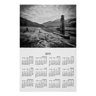Dramatic Black and White Winter Low River Photo Poster