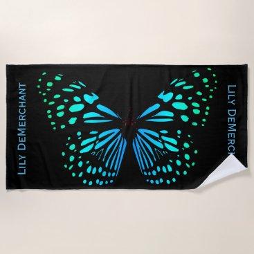Beach Themed Dramatic Black Blue Butterfly Name Beach Towel
