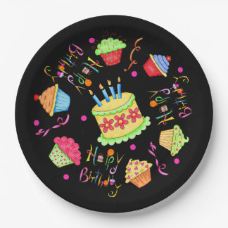 Dramatic Black Cupcakes and Cake Happy Birthday 9 Inch Paper Plate