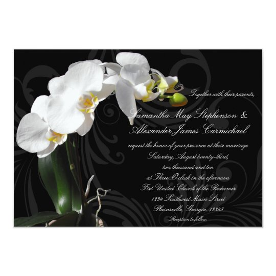 Dramatic Black Floral Orchid Wedding Invitation