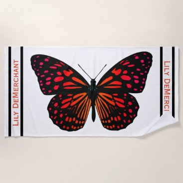 Beach Themed Dramatic Black Red Butterfly Name Beach Towel