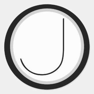 Dramatic Black/white Monogrammed J Round Sticker