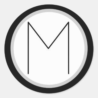 Dramatic Black/white Monogrammed M Round Sticker