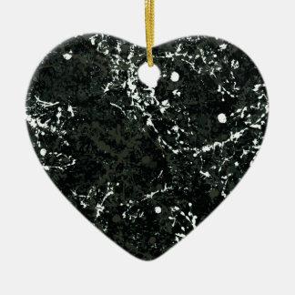 Dramatic Black&White Paint Splatter Double-Sided Heart Ceramic Christmas Ornament