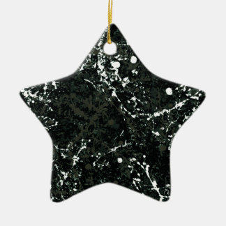 Dramatic Black&White Paint Splatter Double-Sided Star Ceramic Christmas Ornament