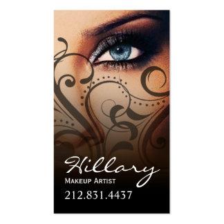 Dramatic Blue Eyes Makeup Artist | black Business Card