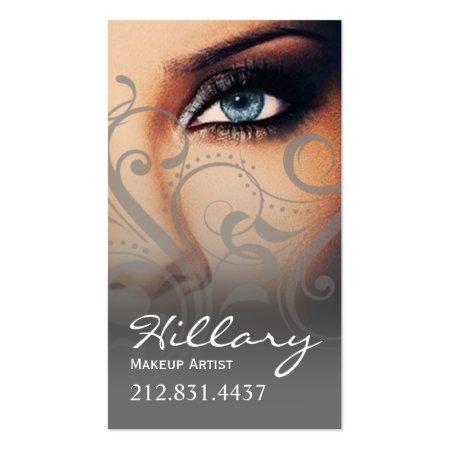 Gray Flourish Swirls on Black Cosmetic Makeup Palette Business Cards