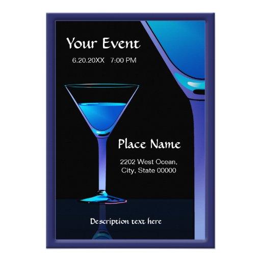 Dramatic Blue Martini Cocktails Invitation