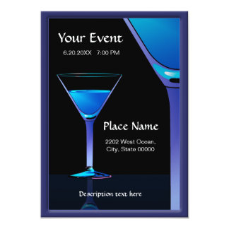 Dramatic Blue Martini Cocktails Invitation