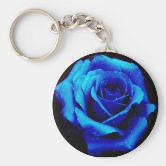 Dramatic Blue Rose Key Chains