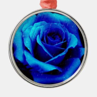 Dramatic Blue Rose Christmas Ornaments