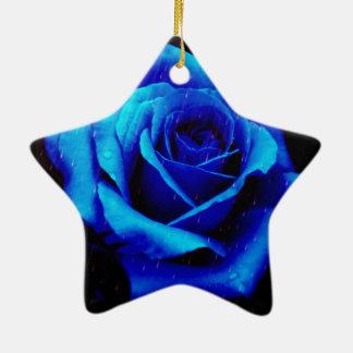 Dramatic Blue Rose Christmas Tree Ornament