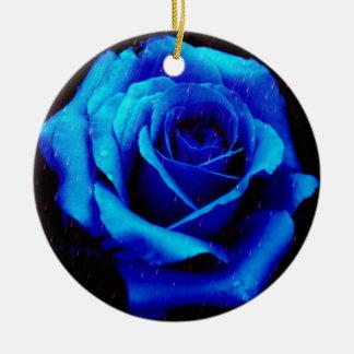 Dramatic Blue Rose Christmas Tree Ornaments