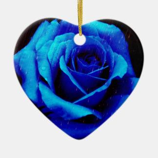 Dramatic Blue Rose Ornaments