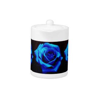 Dramatic Blue Rose Teapot
