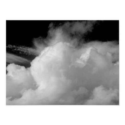 Dramatic Clouds (B&W) Poster