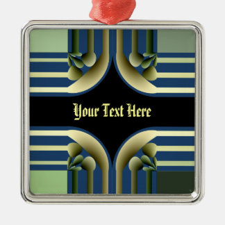 Dramatic! Colorful Abstract Square Metal Christmas Ornament