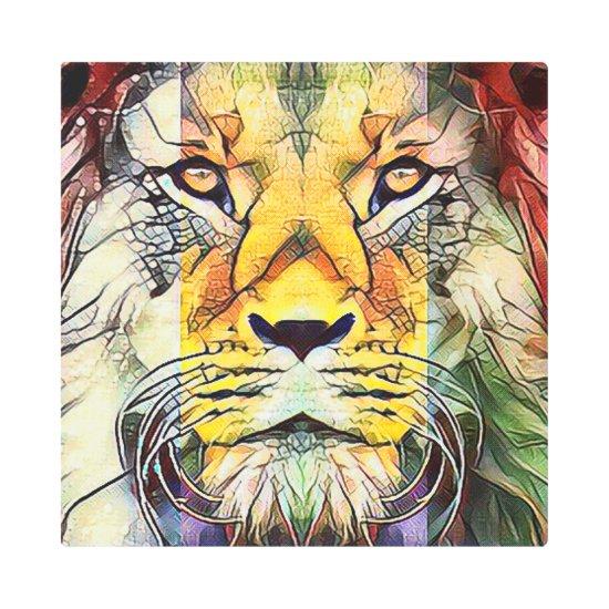 Dramatic Colorful Lion Wildlife Pop Art Portrait