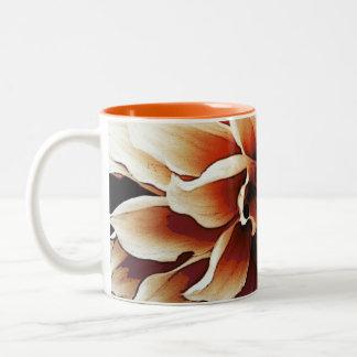 Dramatic dahlia flower petals closeup Two-Tone coffee mug
