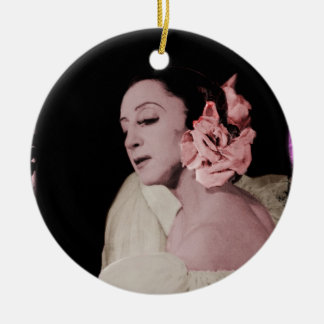 Dramatic Dancer with Flower Ceramic Ornament