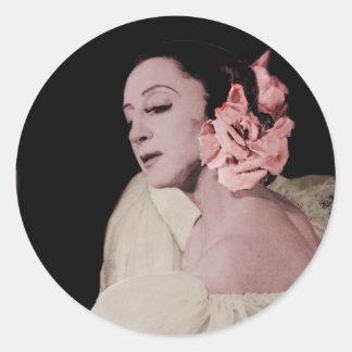 Dramatic Dancer with Flower Classic Round Sticker