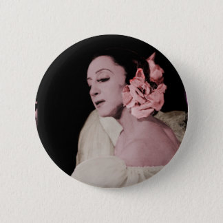 Dramatic Dancer with Flower Pinback Button