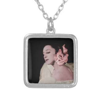 Dramatic Dancer with Flower Silver Plated Necklace