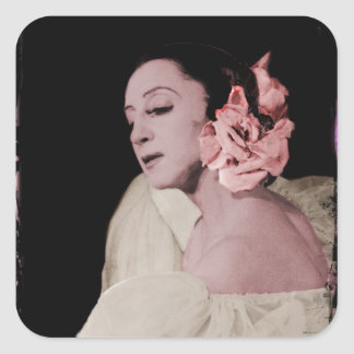 Dramatic Dancer with Flower Square Sticker