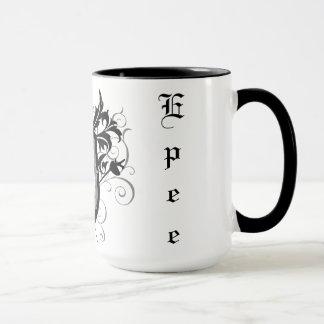 Dramatic Epee Fencing Crest White Mug