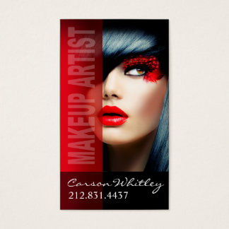 Dramatic Eyes Makeup Artist | red Business Card