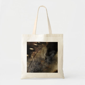 Dramatic Ferris Wheel Falls in a Lightning Storm Budget Tote Bag