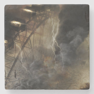 Dramatic Ferris Wheel Falls in a Lightning Storm Stone Beverage Coaster