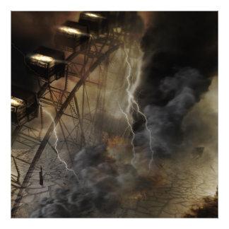 Dramatic Ferris Wheel Falls in a Lightning Storm Photo Print