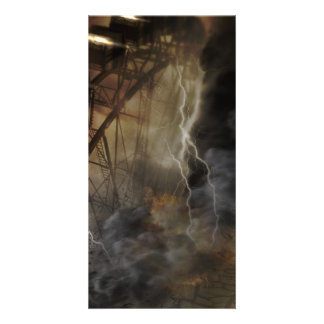Dramatic Ferris Wheel Falls in a Lightning Storm Photo Greeting Card
