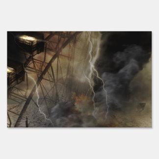 Dramatic Ferris Wheel Falls in a Lightning Storm Yard Sign