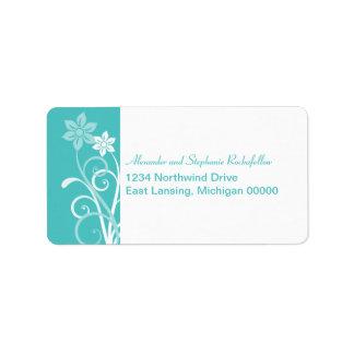 Dramatic Floral Swirls Address Labels, Aqua